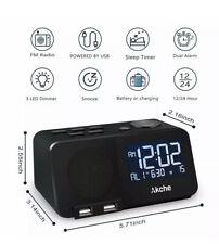 NEW - Akche Alarm Clock - Bedroom Night Light Digital Alarm Clock With Fm Radio