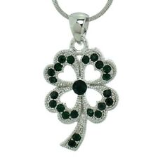 """Clover Necklace Made With Swarovski Crystal Shamrock Green Pendant 18"""" Chain"""