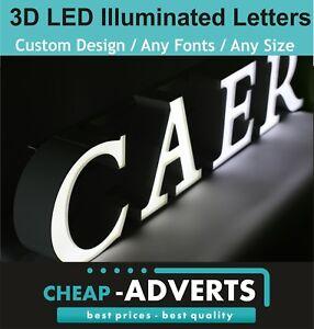 3D LED Shop Sign Letters 30cm - 3D LED Illuminated Exterior Signage.