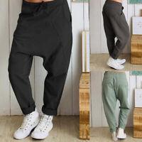 ZANZEA Femme Pantalon 100% coton Poches Taille elastique Bande élastique Longue