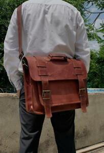 Unisex Vintage Genuine Leather Laptop Messenger Briefcase Satchel Backpack Bag