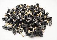 1500 Pcs Black Single Flex Clips for RG59 RG6 Coax Cable Strain Relief Screw