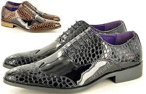 Mens Crocodile Skin Pattern Pointed Toe Winkle Picker Fancy Dress Lace up Shoes