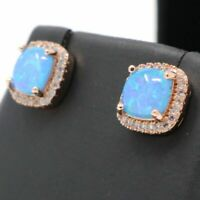 Antique Princess Blue Opal Earrings Nickel Free Jewelry Gift 14K Rose Gold