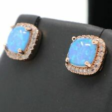 1.5 Ct Princess Blue Opal Earrings Women Birthday Jewelry 14K Rose Gold Plated
