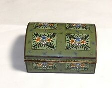 RARE INABA BLOSSOM BUTTERFLY DESIGN CLOISONNE GREEN ENAMEL JEWELRY BOX SIGNED
