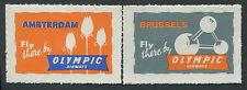Greece Olympic Airways vintage Airmail labels x 2