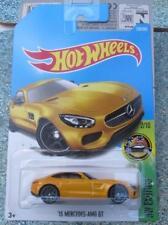 Hot Wheels 2017 # 256/365 2015 MERCEDES-AMG GT AMARILLO HW Exotics Largo Tarjeta