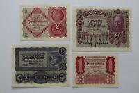 AUSTRIA 1/10 & 20 KRONEN UNC + 2 KRONEN 1922 AU DETAILS B27 BLEI -50