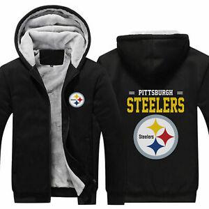 Pittsburgh Steelers Fans Hoodie Fleece zip up Coat winter Jacket warm Sweatshirt
