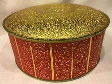 Vtg Guildcraft Embossed Red Gold Fruitcake Biscuit Cookie Tin Storage NY, USA