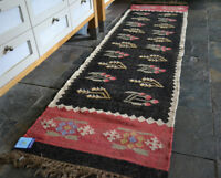 100% Wool Kilim Tribal rug 60x245cm. Quality Hand Made runner Rose Black Beige