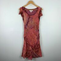 Un Jour Ailleurs Silk Dress Womens Size 14 Petite Paisley Sleeveless Round Neck