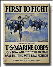 US Marines Corps First to Fight WWI Canvas Poster Print 2D