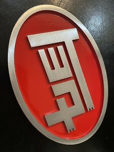 TOYOTA TEQ EMBLEM JAPANESE BADGE MACHINE FINISH METAL RED CAMRY 4RUNNER COROLLA