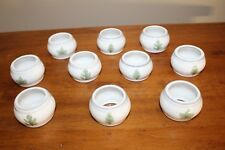 New listing Ceramic Napkin Rings White with Green Leaves Lot of 10 Leaf Motif