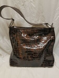 Details about  /Brighton Black Patent Leather Shoulder Bag With Silver Tone Hardware