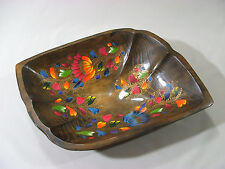 """Vintage Russian Hand Painted Floral Wooden Lacquered 18"""" Long Bowl 10 3/4"""" Wide"""