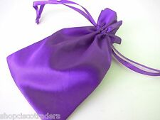 Three Bags Purple Satin Drawstring Jewelry 4.5x7in Wedding Party Healing Crystal