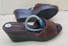 NEW ROCKPORT ADIPRENE BY ADIDAS SLIP ON WEDGE SANDALS BROWN SUEDE SIZE 6 UK