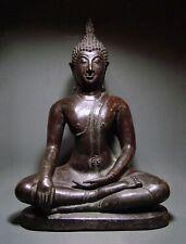 """ANTIQUE """"PURPLE BRONZE"""" MEDITATING SUKHOTHAI BUDDHA, TEMPLE RELIC. 19/20th C"""