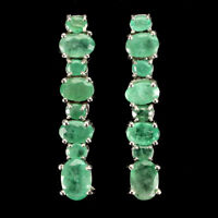 Unheated Oval Emerald 7x5mm 14K White Gold Plate 925 Sterling Silver Earrings
