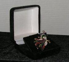 Crystal & Enameled long Tail Bird Pin Brooch Scarf Pin Boxed brooch