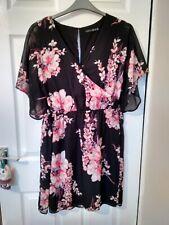 Ladies Black Floral Floaty Dress Size 18
