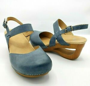 Dansko Taci Sandal Slingback Waxy Denim Blue Leather Wedge Cutout Heel 40 US 9.5
