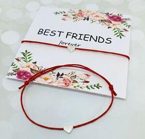 Best Friend Wish Bracelet - Friendship BFF Heart Charm Red Tag Pals Mates Floral