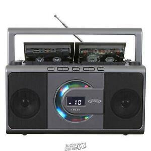 Jensen-CD/Dual Cassette Deck Recorder LCD Display Front Loading Player Stereo