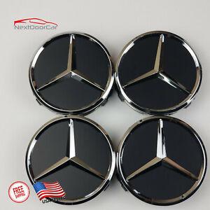 4 Mercedes-Benz Matte Black Wheel Center Hub Caps Emblem 75MM