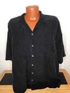 Men's Tommy Bahama S/S Button Front Hawaiian Shirt Size 2XL (XXL) Black