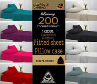 Luxury 100% Egyptian Cotton 200 Thread Count Fitted Sheet All 4 Size S.D.K,Sking