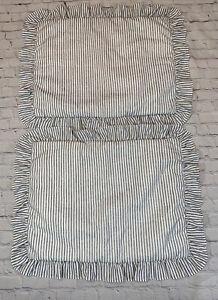 "Lush Decor Ticking Stripe 2 Pc Pillow Shams 20"" x 26' +2""  White Black"