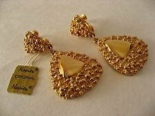 VINTAGE NAPIER SIGNED GOLD TONE RUNWAY EARRINGS DANGLE DROP ORIGINAL TAG