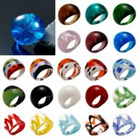 Fashion Women Jewellery Handmade Lampwork Murano Glass Flower Rings Size 7-10