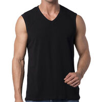 Mens V-Neck Sleeveless T-Shirt Tank Top Gym Muscle Tee Big and Tall Vest Y2Y2