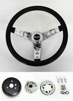 """1968-69 Road Runner Barracuda Cuda Fury Black & Chrome Steering Wheel 14 1/2"""""""