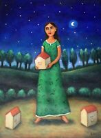 "Beautiful whimsical painting girl in the night Mexican artist Esau Andrade 14""x1"