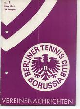 Tennis Borussia Berlin - Vereinsnachrichten - März 1962