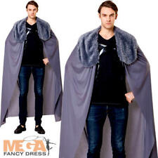 Grey Cape with Fur Collar Mens Fancy Dress Medieval Adult Costume Accessory New
