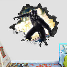 Black Panther Avengers Wall Hole 3D Decal Vinyl Sticker Decor Room Smashed BP03