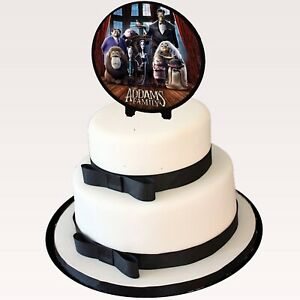 """Addams Family Cake Topper 6"""" Width x 3"""" Stakes Two-Sided Image Decorative Favor"""
