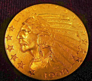 1908 US $5 Indian Half Eagle!