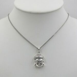 Sterling S925 Silver Unisex Luck Guanyin Pendant & 22inch Wheat Necklace