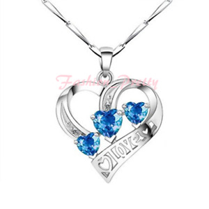Pretty 2 Carat Blue Topaz and CZ Heart Necklace in Sterling Silver, 18 Inches