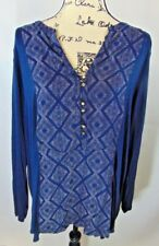 Lucky Brand Woman 2X Dark Blue Diamond Pattern in Front 3/4 Sleeve Or Not NWT B2