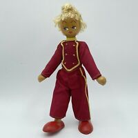 "Vintage 1940s Wooden Peg Doll Souvenir Made In Poland 7"" tall"