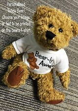 Personalised set of 2 Teddy Bears Any Text Photo Logo Birthday gift boy girl